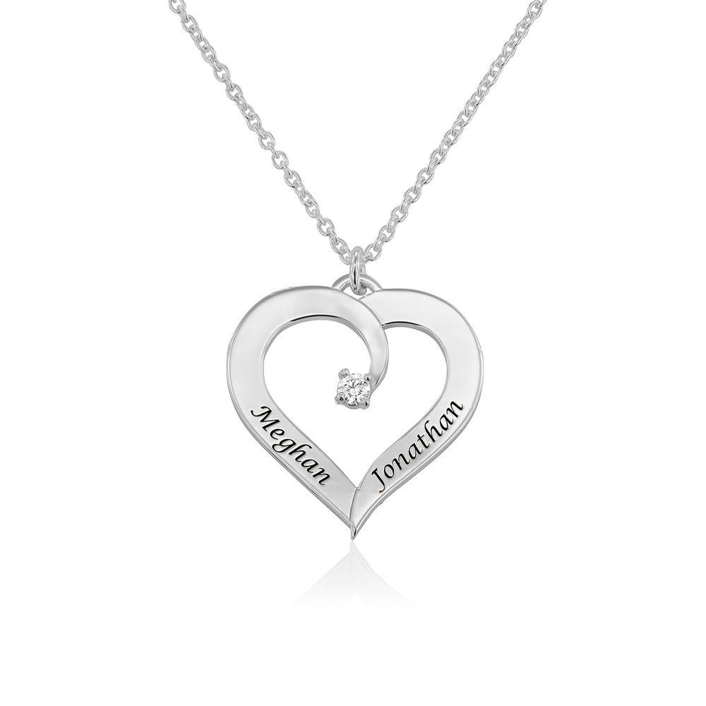 Yksilöity sydänkaulakoru timantilla, Sterling-hopea