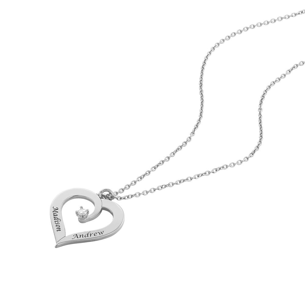 Yksilöity sydänkaulakoru timantilla, Sterling-hopea - 1