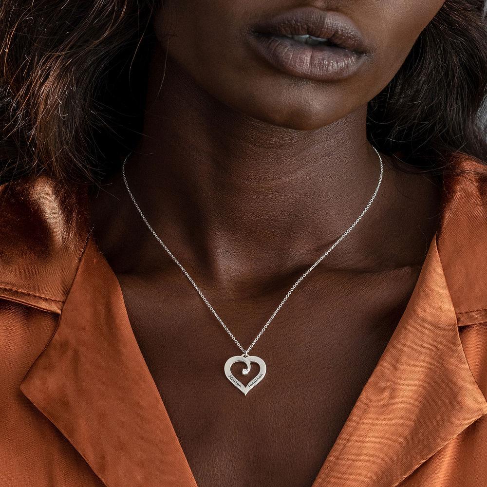 Yksilöity sydänkaulakoru timantilla, Sterling-hopea - 3