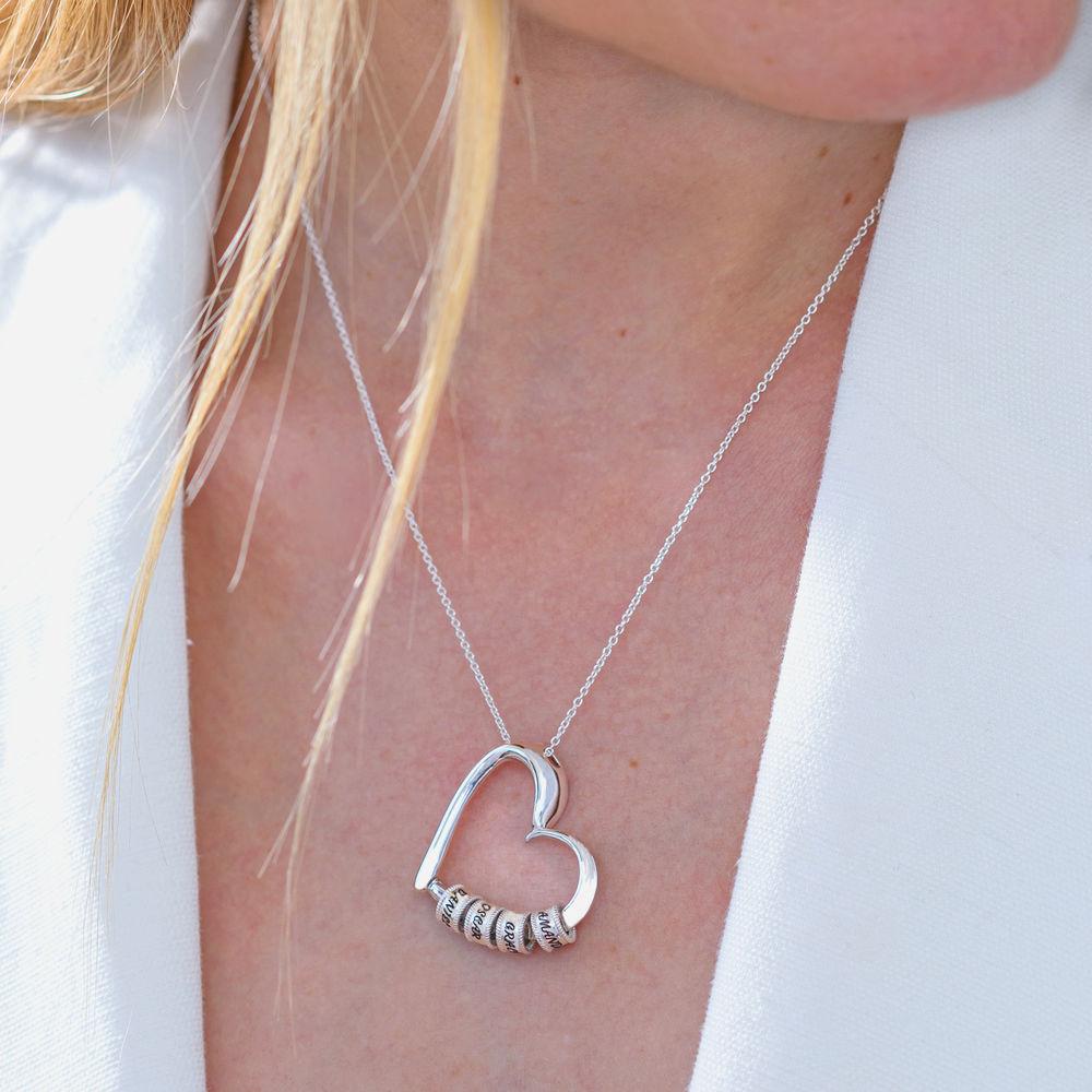 Hopeinen sydänriipus kaulakoru kaiverretuilla helmillä - 6