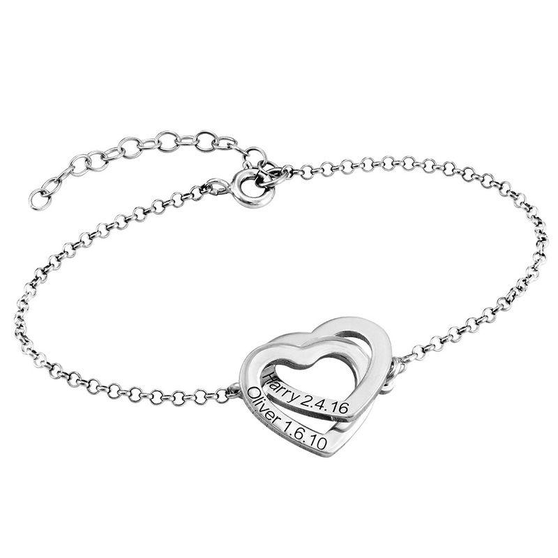 Sterling-hopeinen yhteen liittyvä sydän rannekoru