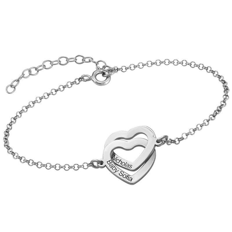 Sterling-hopeinen yhteen liittyvä sydän rannekoru - 1