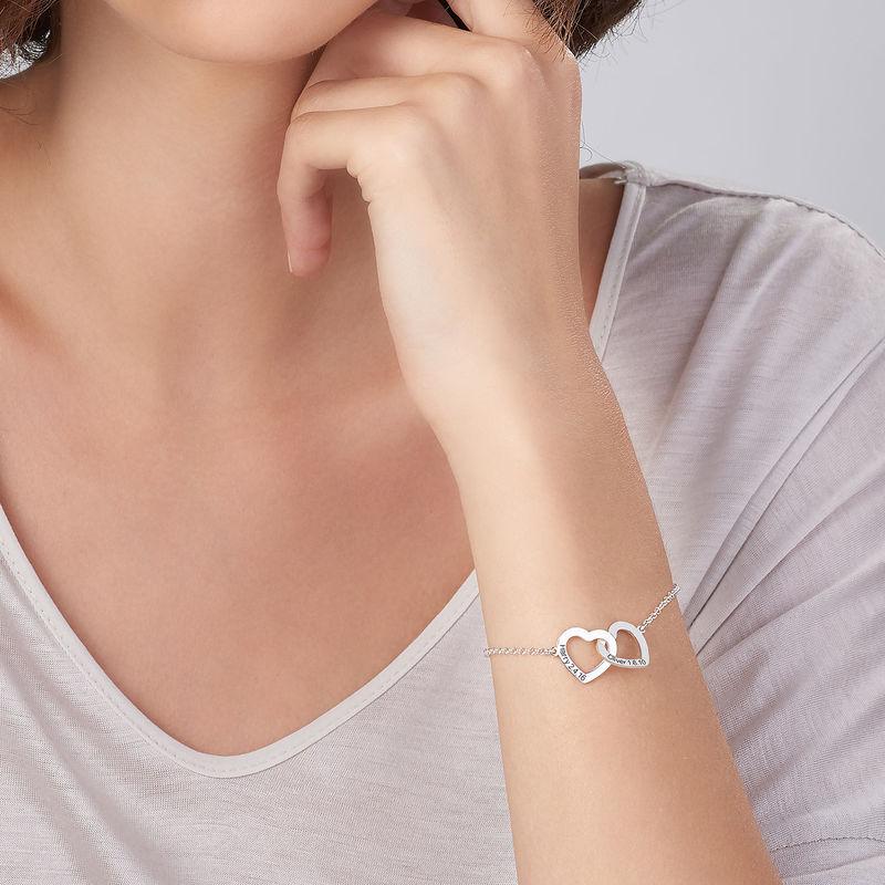 Sterling-hopeinen yhteen liittyvä sydän rannekoru - 3