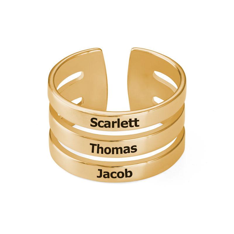 Kaiverrettu kolmen nimen sormus kultauksella - 1