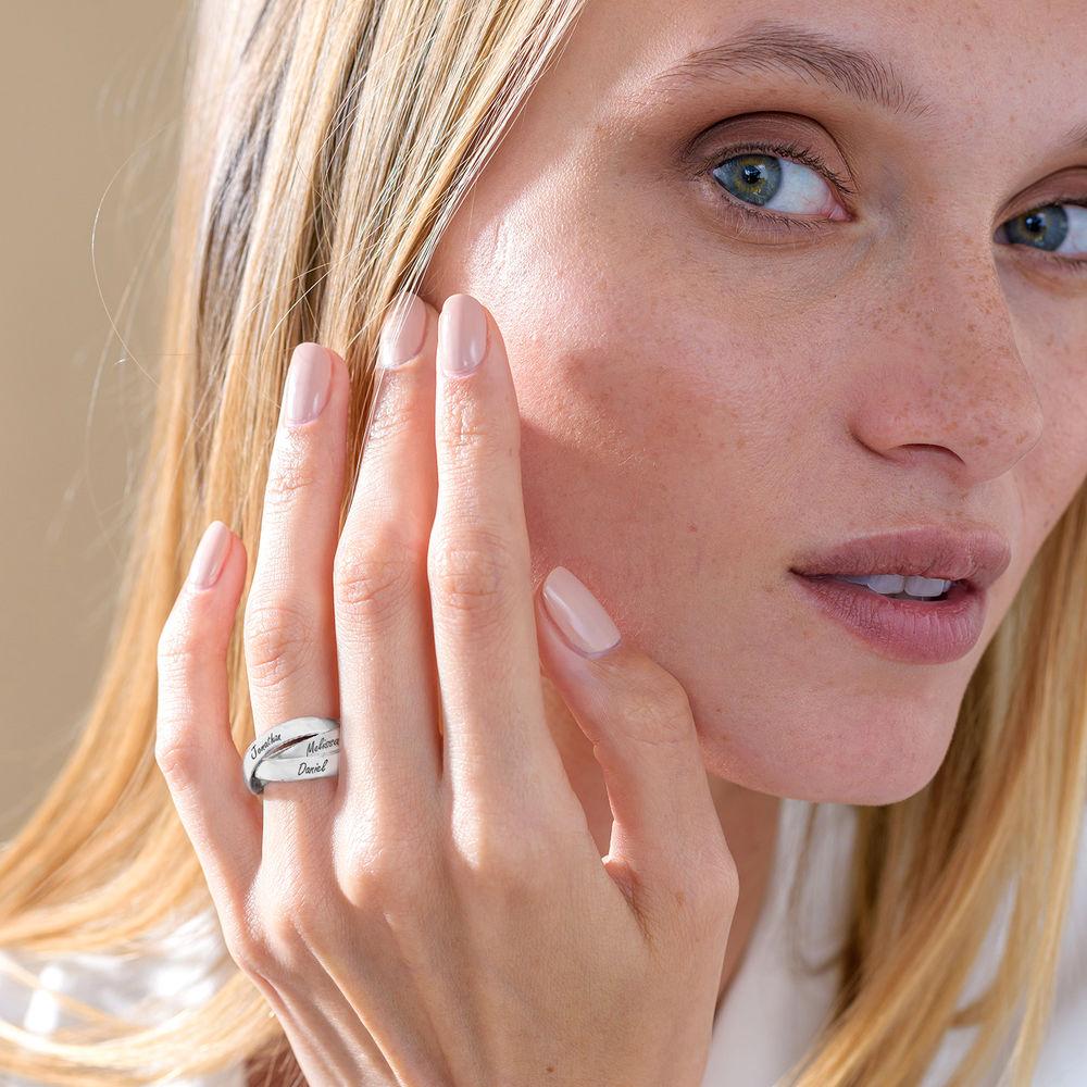 Charlize kolmen renkaan sormus hopeisena - 3