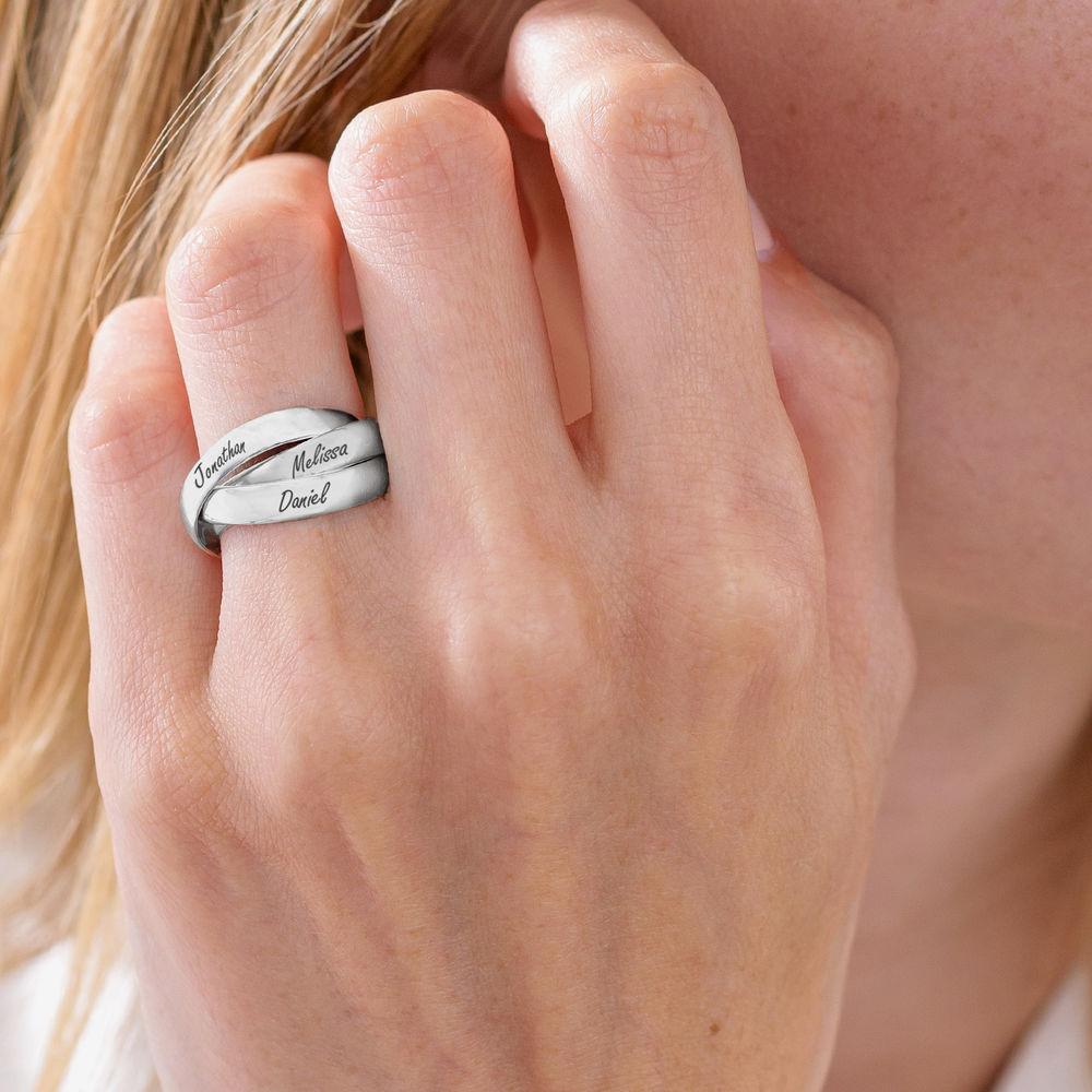 Charlize kolmen renkaan sormus hopeisena - 4