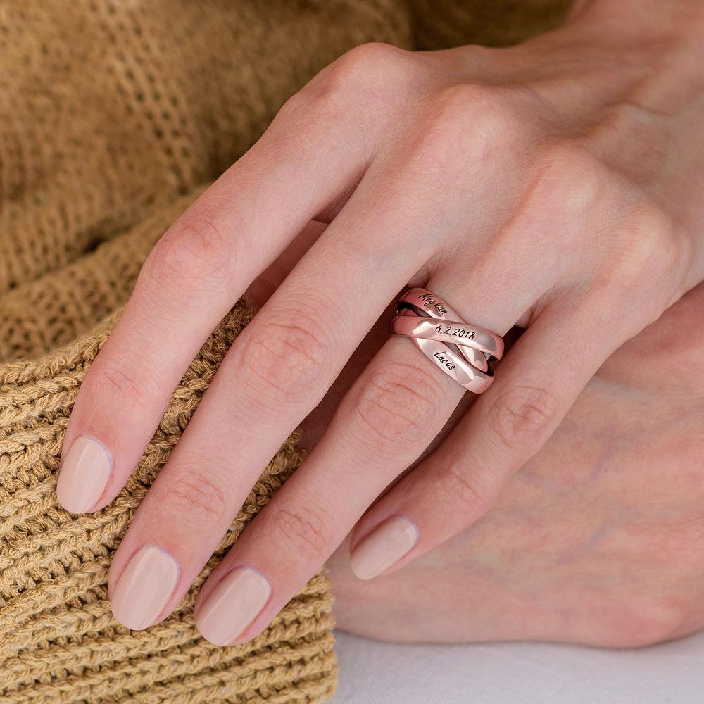 Charlize kolmen renkaan sormus ruusukullattuna - 4
