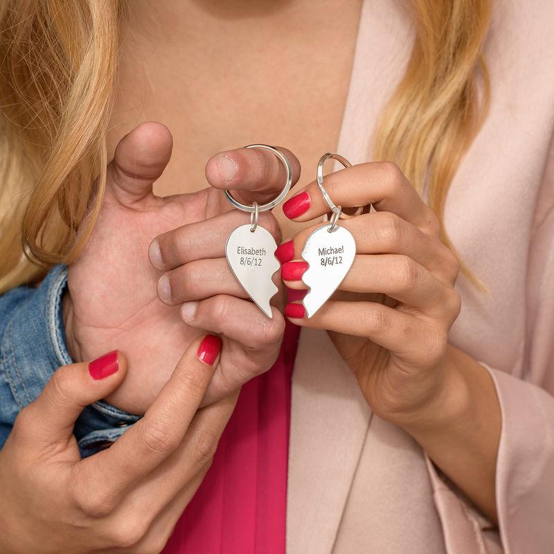 Hopeiset Sydämen Puolikkaat -Avaimenperä - 2