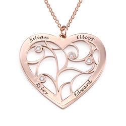 Sydämen muotoinen perhe kaulakoru elämänpuu riipus timanteilla, tuotekuva