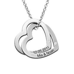 Yhteenkietoutuvat sydämet sterling-hopeisena timanteilla tuotekuva