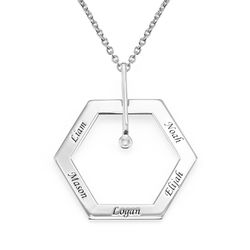 Kuusikulmio koru kaiverruksella ja timantilla, sterling-hopea tuotekuva