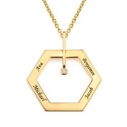 Kuusikulmio koru kaiverruksella ja timantilla, kullattu tuotekuva