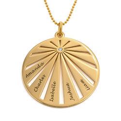 Pyöreä perhe kaulakoru kaiverruksella timantilla, 10K-kulta tuotekuva