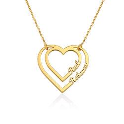 Yksilöity sydänkaulakoru kahdella nimellä, Vermeil-kullattu tuotekuva
