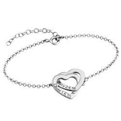 Sterling-hopeinen yhteen liittyvä sydän rannekoru tuotekuva
