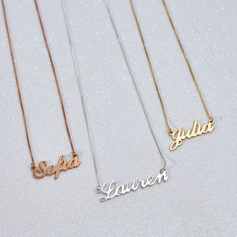Collier Prénom Style Classique avec Pendentif en Plaqué Or 18ct - 1