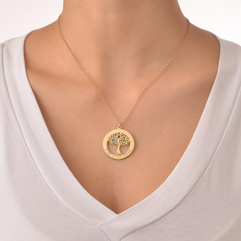 Collier Cercle Arbre de vie avec pierres de naissance en plaqué or - 3
