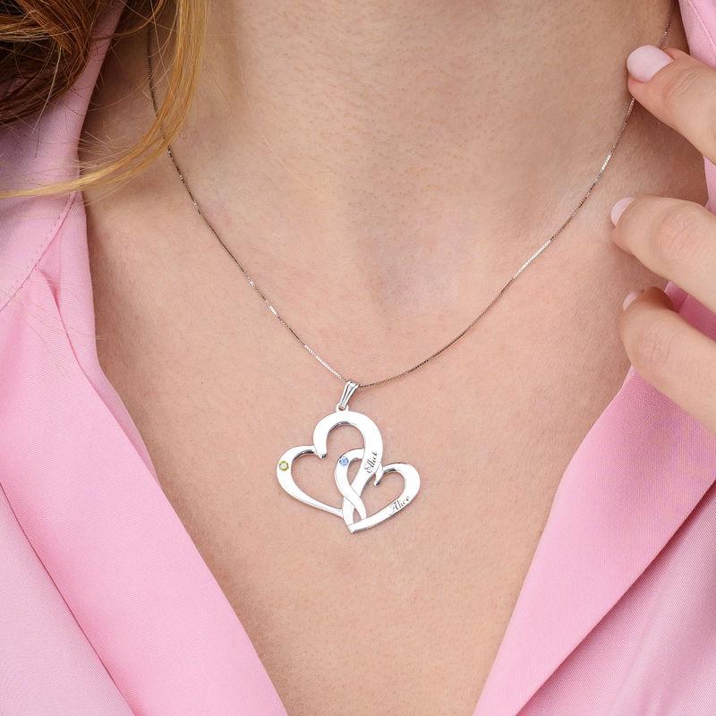 Collier deux cœurs gravés en or blanc 10 carats - 2