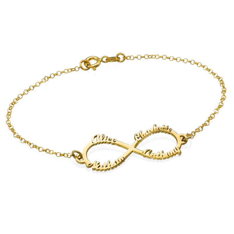 Braderie Couleurs variées mode attrayante Bracelet Infini 4 prénoms en plaqué or