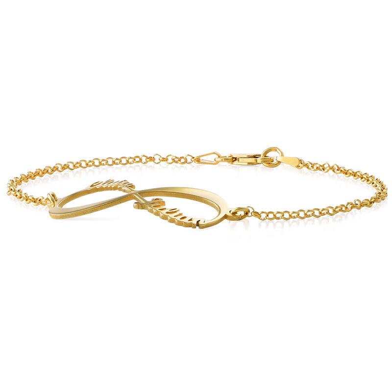 Bracelet infini avec prénoms en or 14 carats - 1