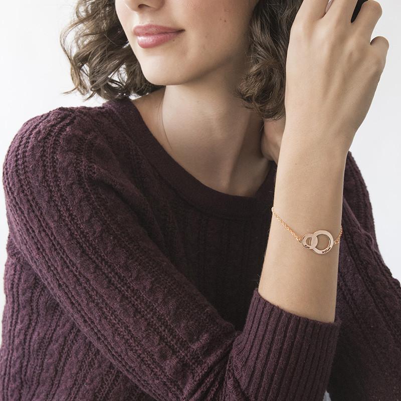 Bracelet Anneaux Entrelacés - Plaqué Or Rose - 2