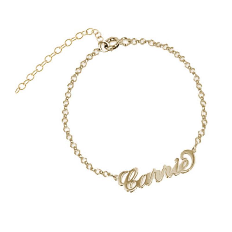 """Bracelet Prénom style """"Carrie Bradshaw"""" en Plaqué Or 18ct"""