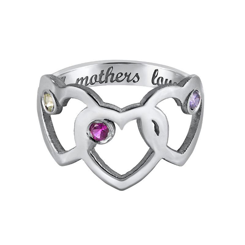 Bague Coeurs pour Mamans avec pierres de naissance - 3