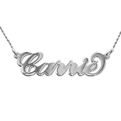 Collier Prénom avec Pendentif Or Blanc 14Ct Double Epaisseur Carrie Bradshaw