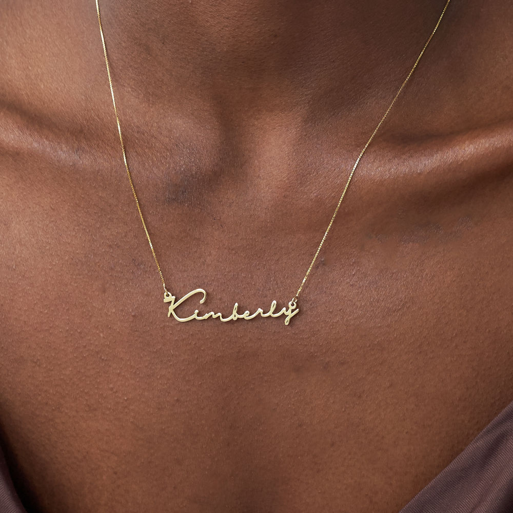 Collier prénom style signature - or jaune 14 cts - 4