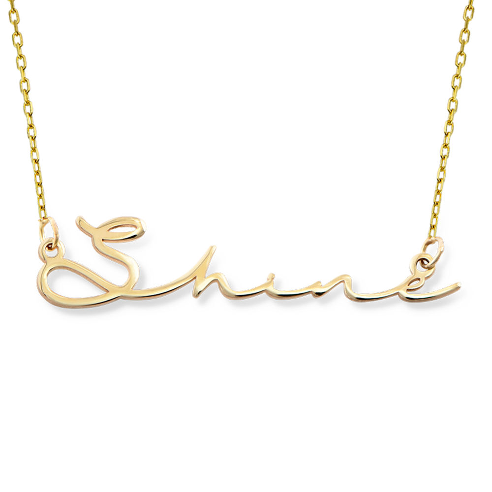 Collier prénom style signature - or jaune 10 cts - 1
