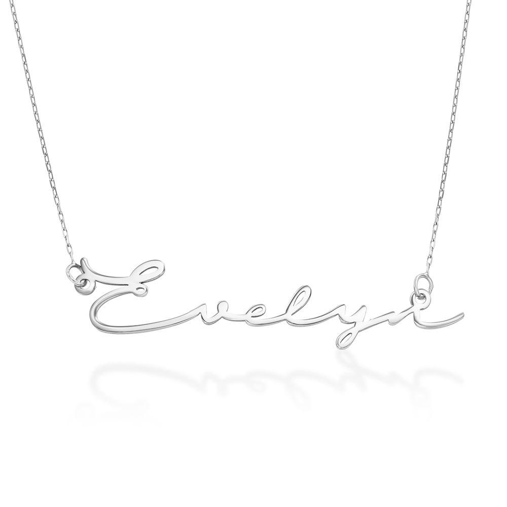 Collier prénom style signature - Or Blanc 10 cts