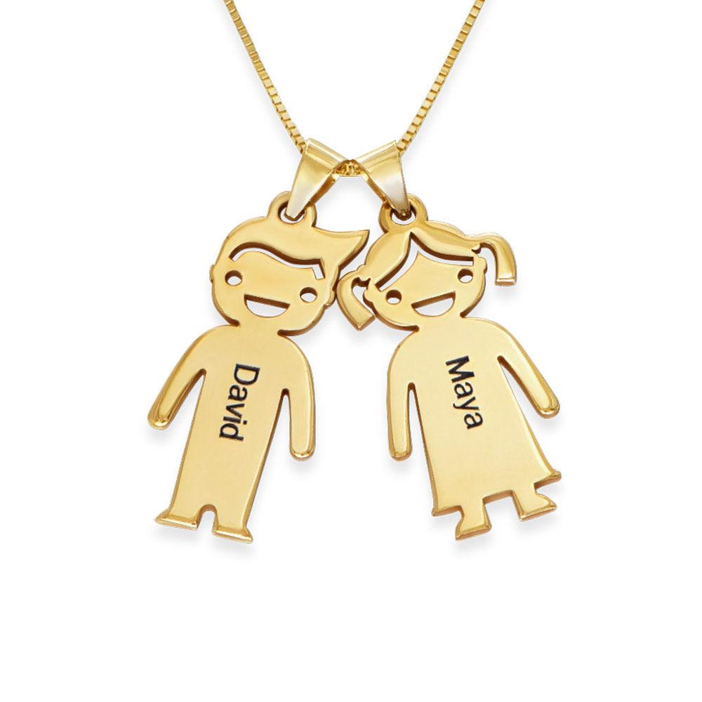 Collier avec pendentif enfants pour maman en or 10 carats