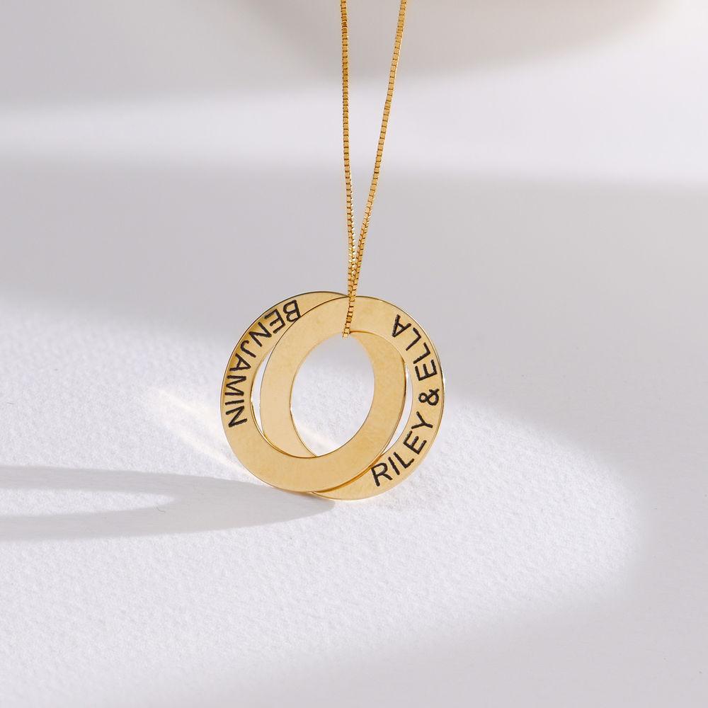 Collier avec 2 anneaux gravés en or 10 carats - 1