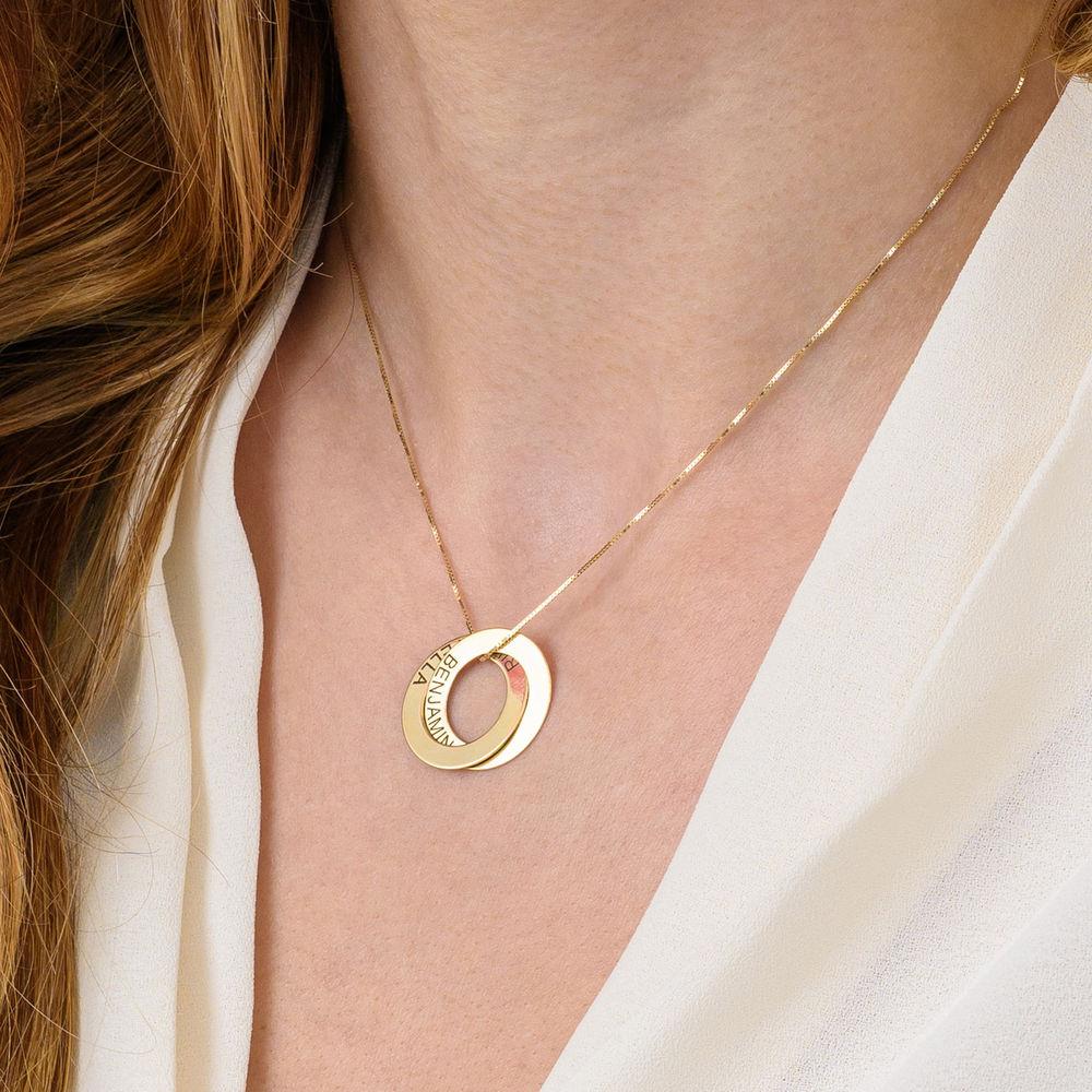 Collier avec 2 anneaux gravés en or 10 carats - 4