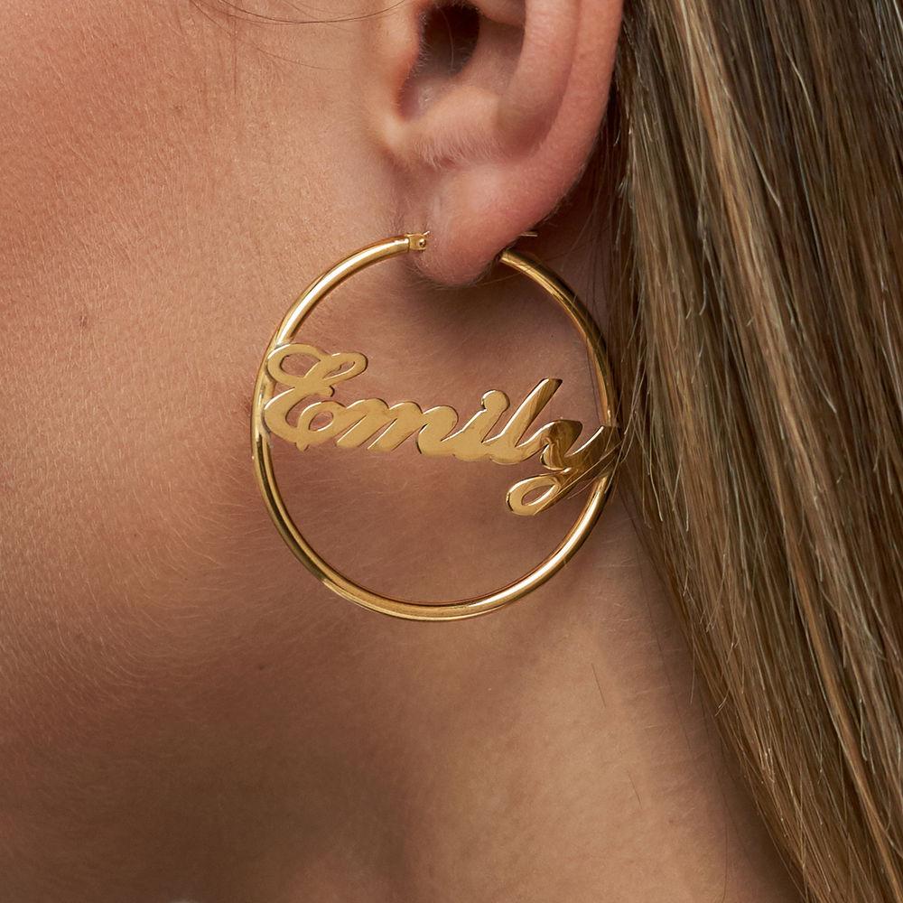 Boucles d'oreilles Créoles Personnalisables en plaqué or 18 cts - 3