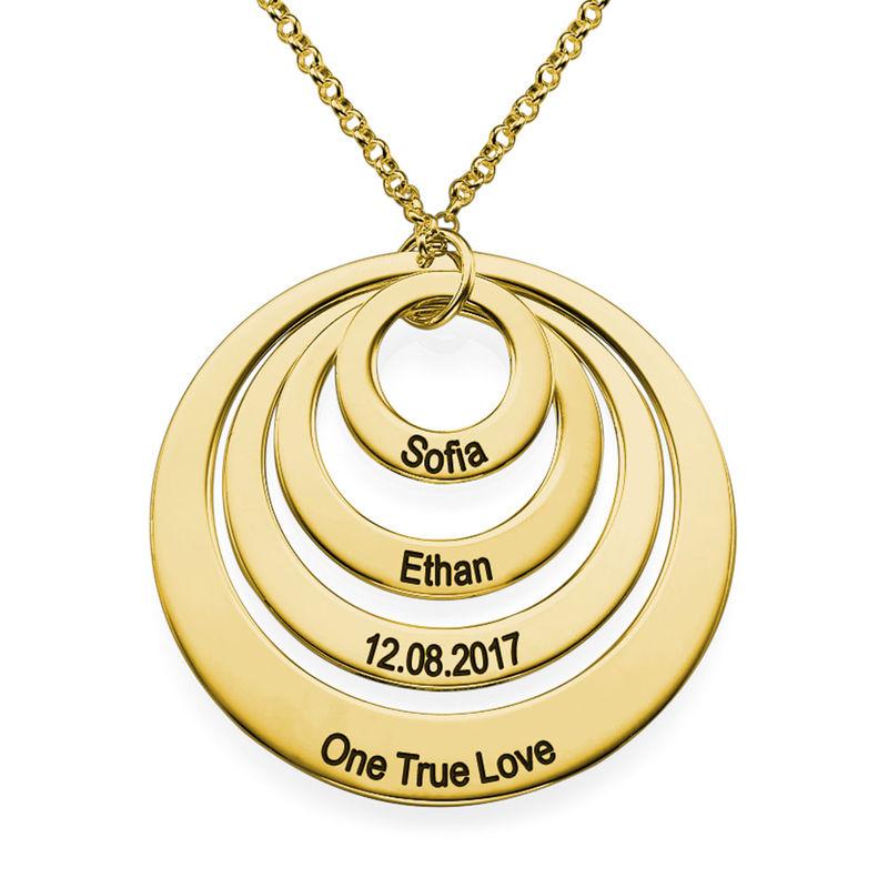 Collier Quatre cercles avec gravure en Plaqué Or - 1