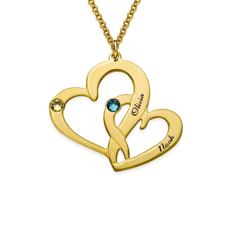 Collier Deux Cœurs Gravés en plaqué or