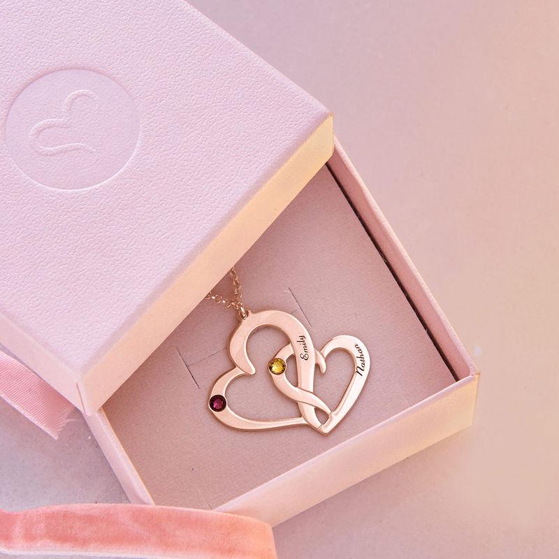 Collier Deux Cœurs Gravés en plaqué or rose - 5