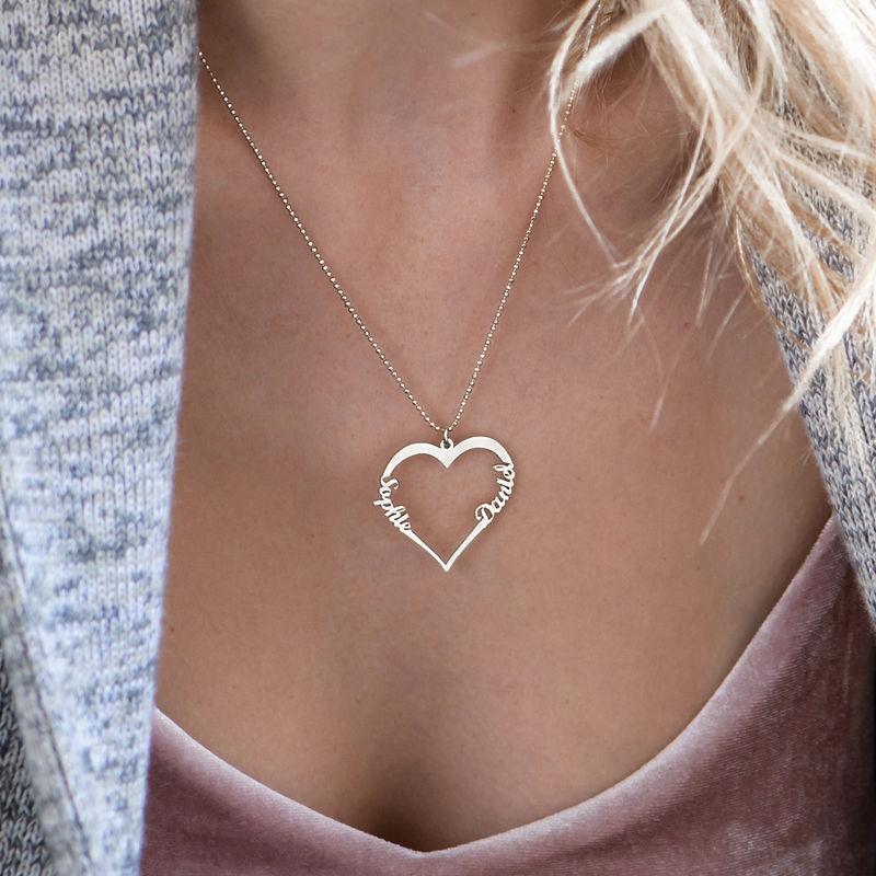Collier Coeur avec Prenom en Argent - 2