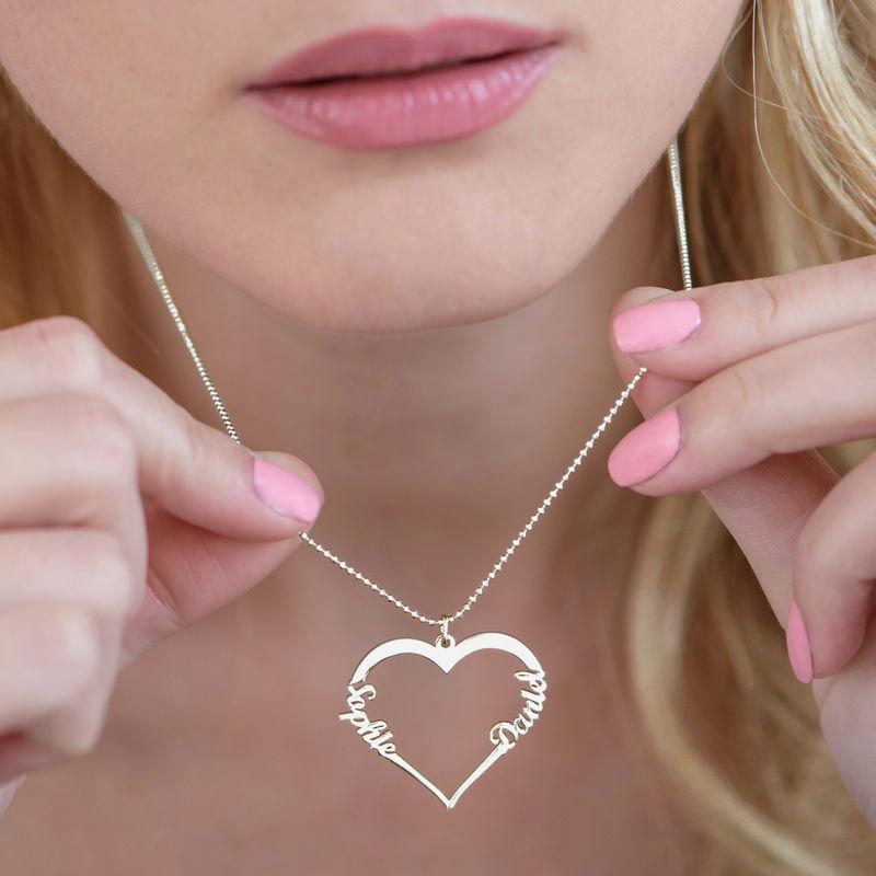 Collier Coeur avec Prenom en Argent - 3