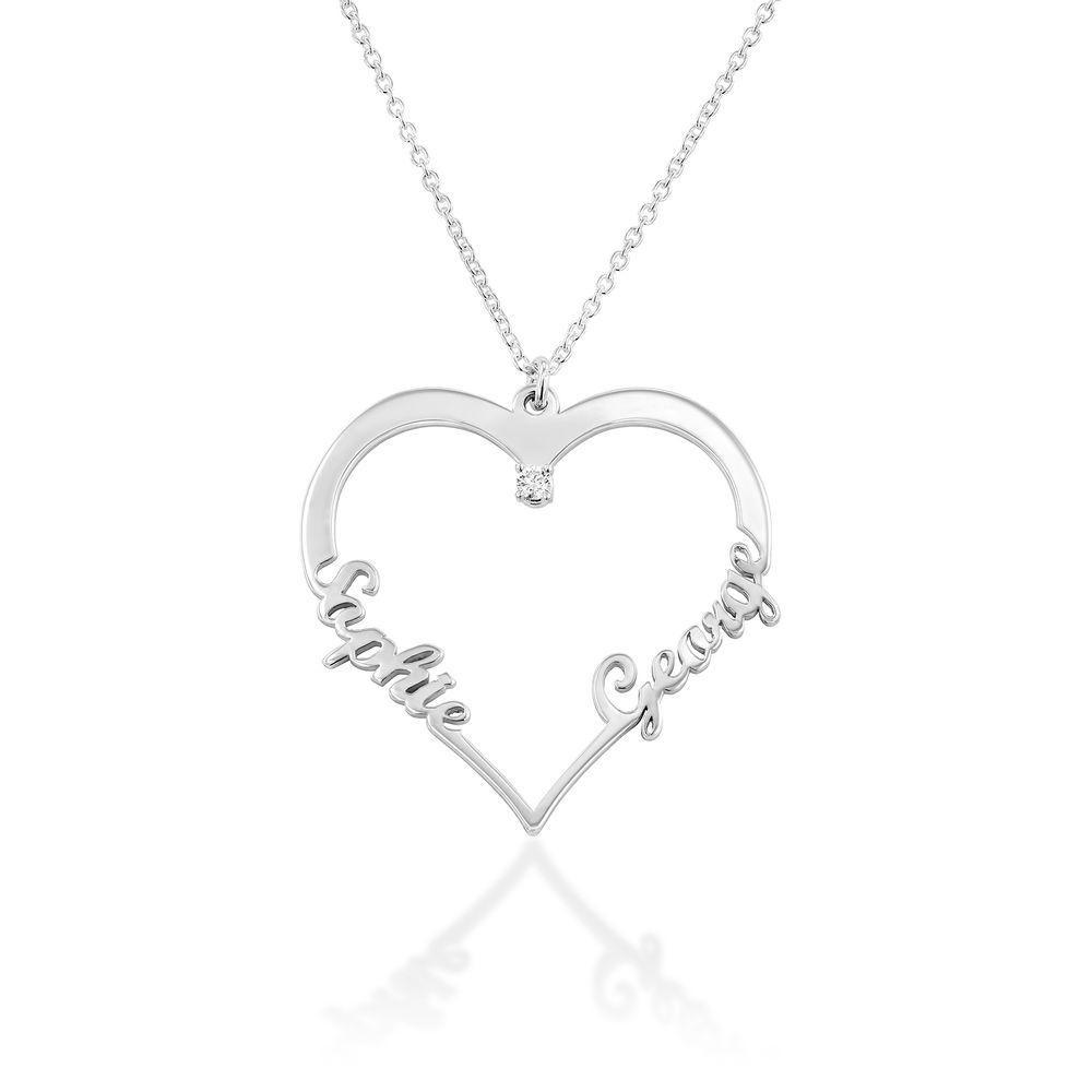 Collier Coeur avec Prenom en Argent avec Diamants