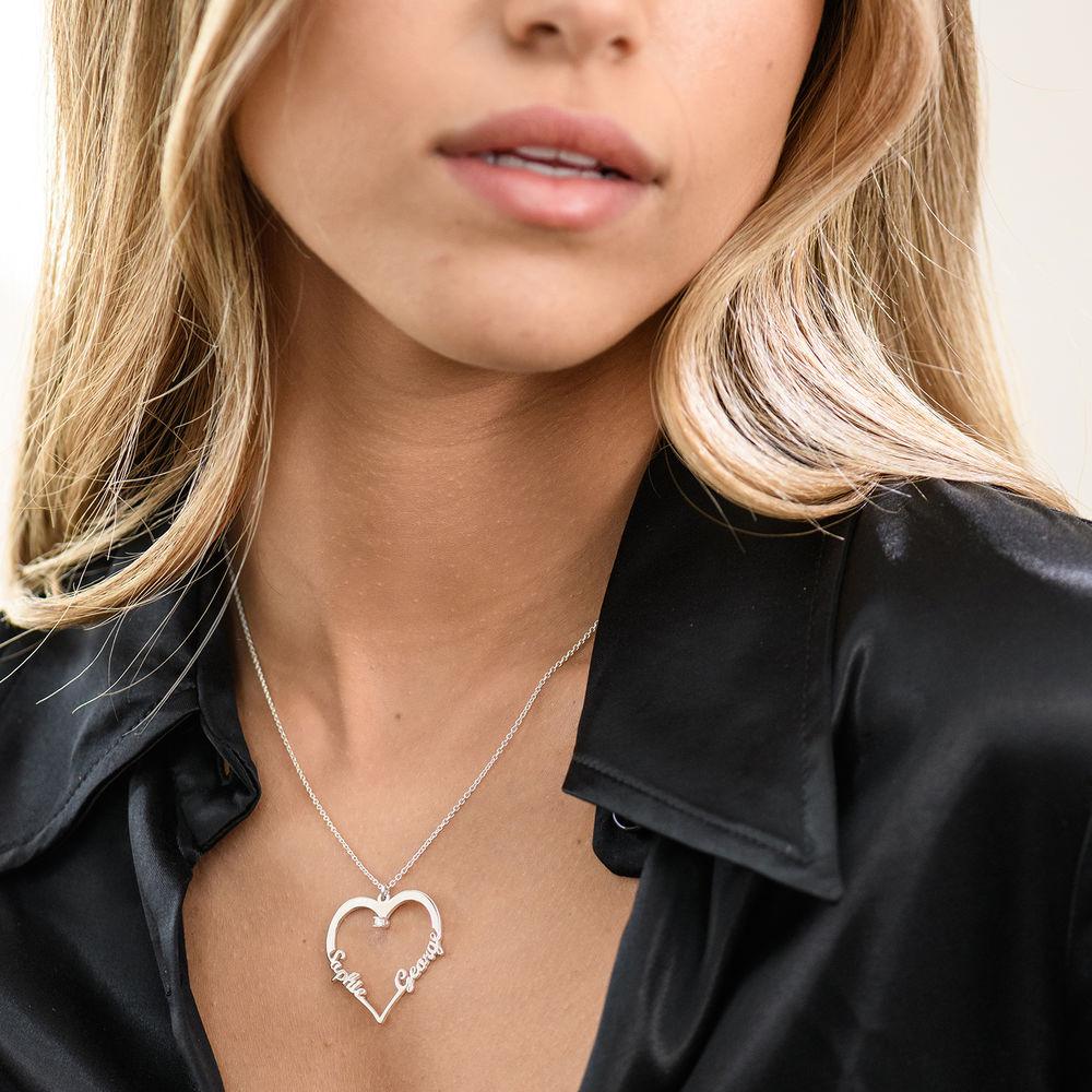 Collier Coeur avec Prenom en Argent avec Diamants - 1