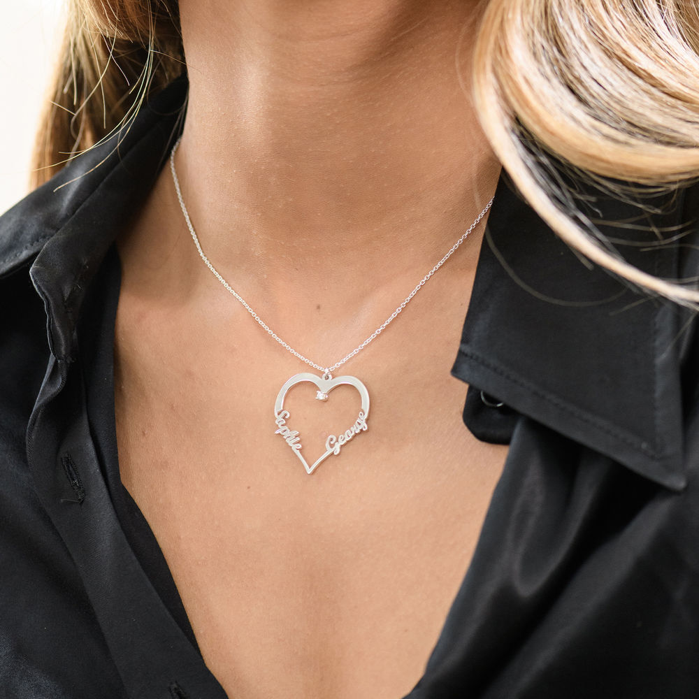 Collier Coeur avec Prenom en Argent avec Diamants - 2