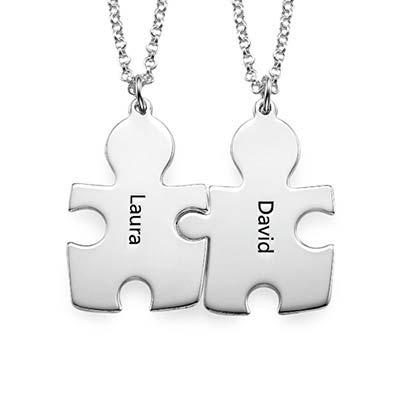 Colliers Personnalisés Couple Puzzle à graver - 1