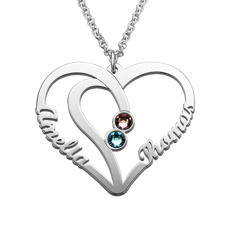 Collier Couple Pierres de naissance – Collection Amour Eternel
