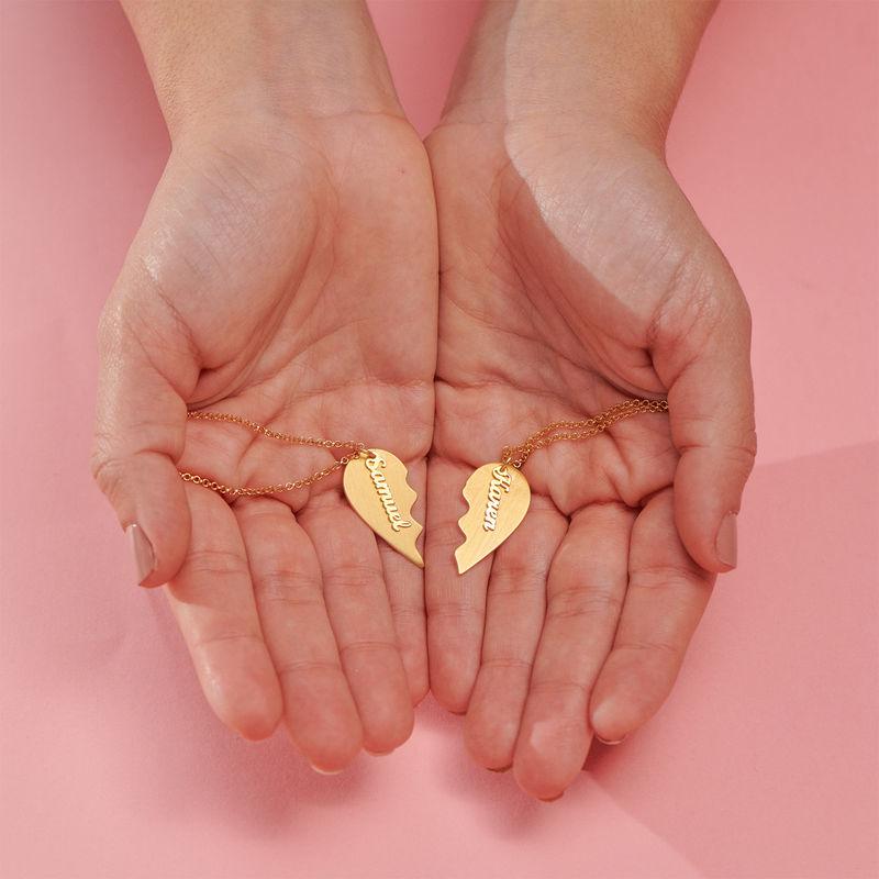 Collier Coeurs pour Couples en Plaqué Or Vermeil - 3