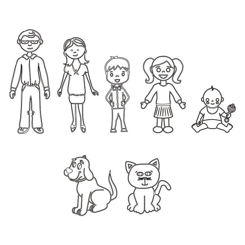 Collier Famille en Argent - 3