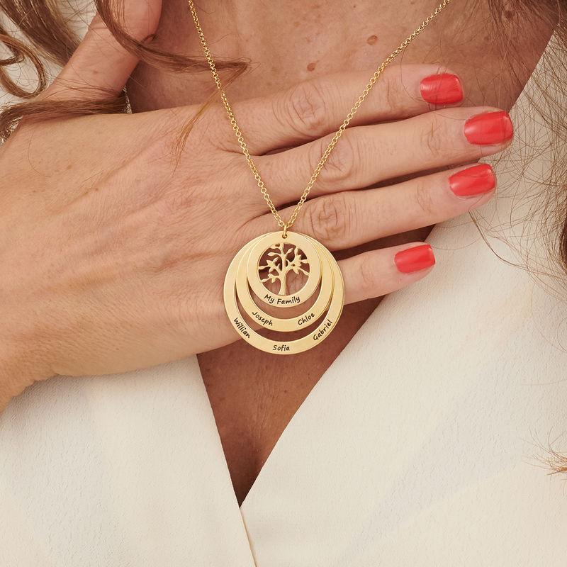 Collier cercles avec arbre de vie en plaqué or pour Mamie - 3