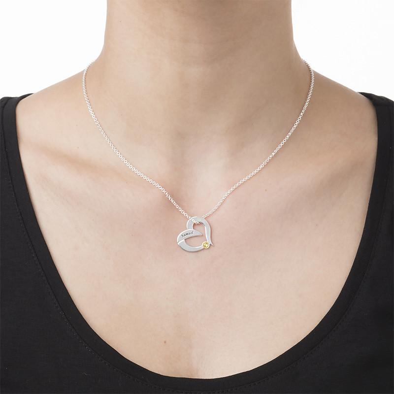 Collier Cœur Gravé avec pierre de naissance - 1