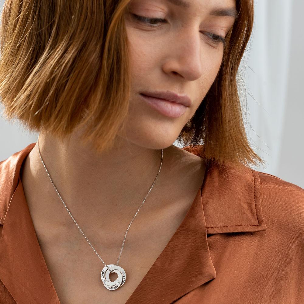 Collier Anneaux Gravés en Argent avec Diamants - 1